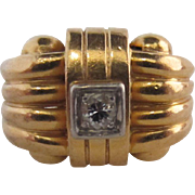 French Retro 18k and Diamond Ring