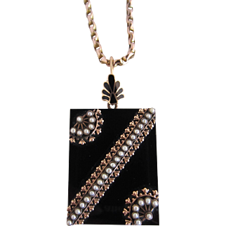 Victorian Onyx, Seed Pearl & Gold Locket