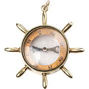 Nautical Compass Pendant in 15k