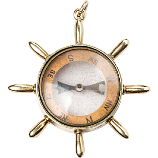 Nautical Compass Pendant in 15k