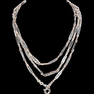 Long Silver and Niello Enamel Chain