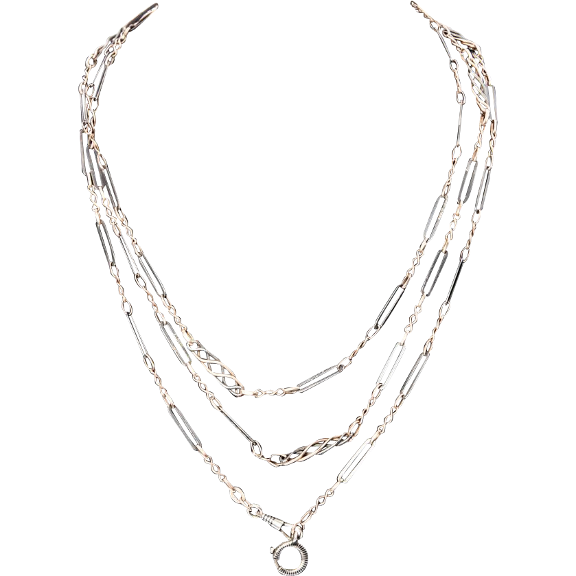 Long Silver and Niello Enamel Chain