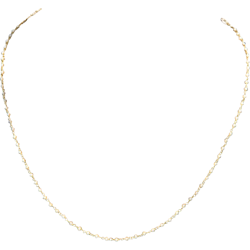 Delicate Natural Seed Pearl and 18k Yellow Gold Necklace