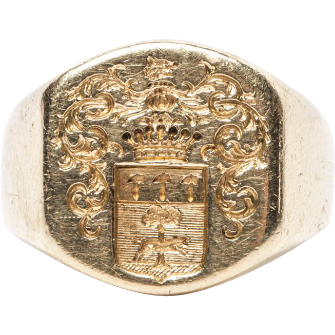 Heavy 18k Crest, Seal, or Signet ring