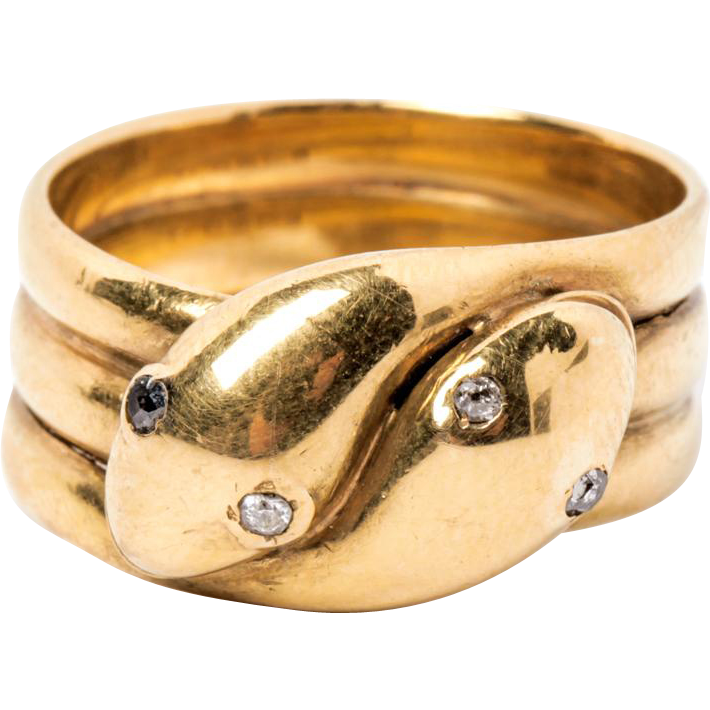 18k Yellow Gold Snake Ring - Chester 1895