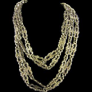 "Art Nouveau French Silver 65"" Long Chain"