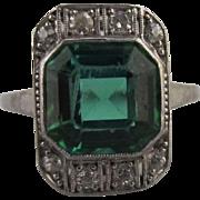 Art Deco Green Tourmaline and Diamond Ring