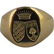 18k Double Shield Signet/ Seal Ring