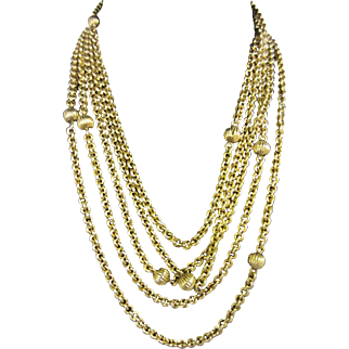 Long 15ct Gold Chain with Fluted Beads