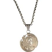French Silver Napoleonic Medallion on Sterling Chain
