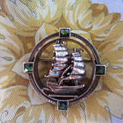 14k & Green Tourmaline Sailing Ship Brooch