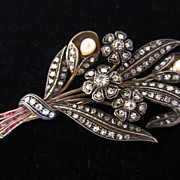 Victorian Diamond Pin with Rubies & Pearls
