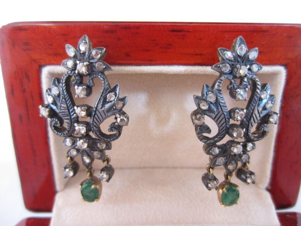 Georgian Rose Cut Diamond and Emerald Earrings