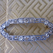 Platinum and 18k Gold Old Mine Cut Diamond Brooch