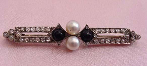 Art Deco Plat Diamond, Onyx, & Pearl Brooch