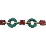 Art Deco Chrysoprase, Carnelian, and 14k Yellow Gold Bracelet