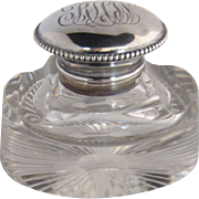 Antique Crystal Inkwell with Sterling Silver Top