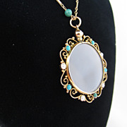 Turquoise, Pearl and Crystal Locket on Chain