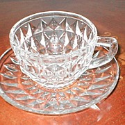 Jeannette Glass Co. Depression  Windsor Diamond Cup & Saucer Set