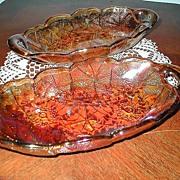 Mid Century Carnival Glass Relish Dishes -Amber Color