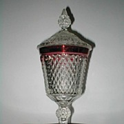 """Indiana Glass Diamond Point  Ruby 16"""" Biscuit/Candy Jar with Lid"""
