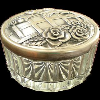 Art Nouveau Beveled Glass Powder Jar