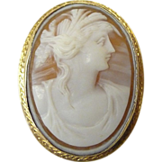 Antique 10k Edwardian Shell Cameo Portrait Pin