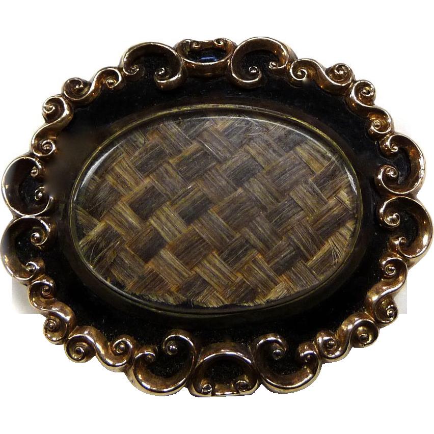 Antique Victorian 10k Enameled Hair Brooch