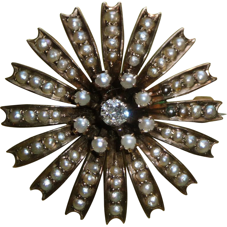 Antique Victorian 10k Rose Gold Pearl Diamond Starburst Pin
