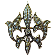 Antique 10K Rose Gold Seed Pearl Fleur-de-Lis Pin w Mine Cut Diamond