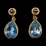 14k Blue Topaz Vintage Screwback Earrings