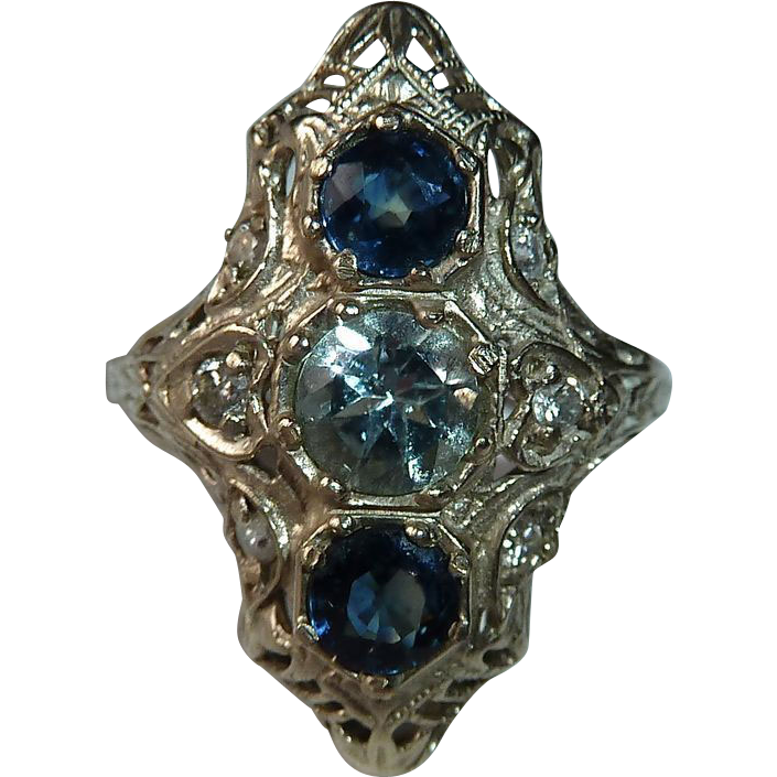 Art Deco 14k White Gold Filigree Ring with Sapphire, Aquamarine & Diamonds
