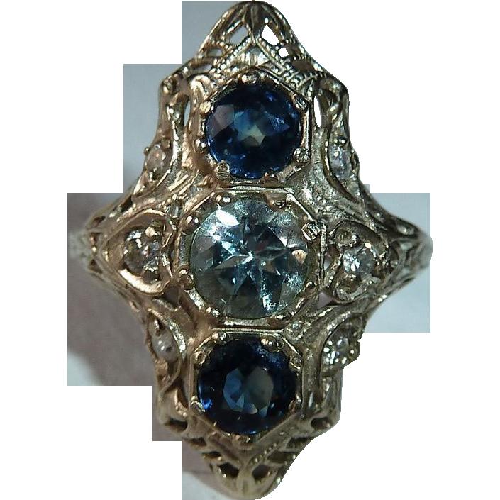 Art Deco 14k White Gold Filigree Ring with Sapphire, Aquamarine & Diamonds
