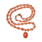 Victorian Coral Bead Necklace w Coral Cab Drop