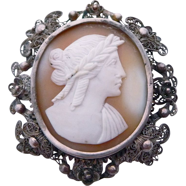 Early Victorian Shell Cameo Filigree Sterling Frame