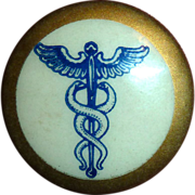 Caduceus Medical Symbol Celluloid Pin Back Button
