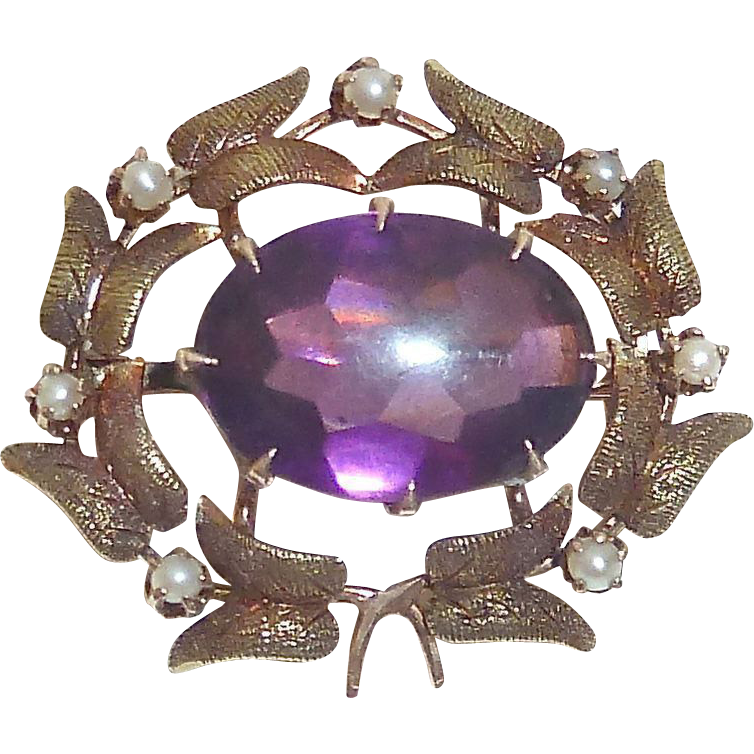 Antique Victorian 10k Rose & Yellow Gold Amethyst & Pearl Wreath Pin