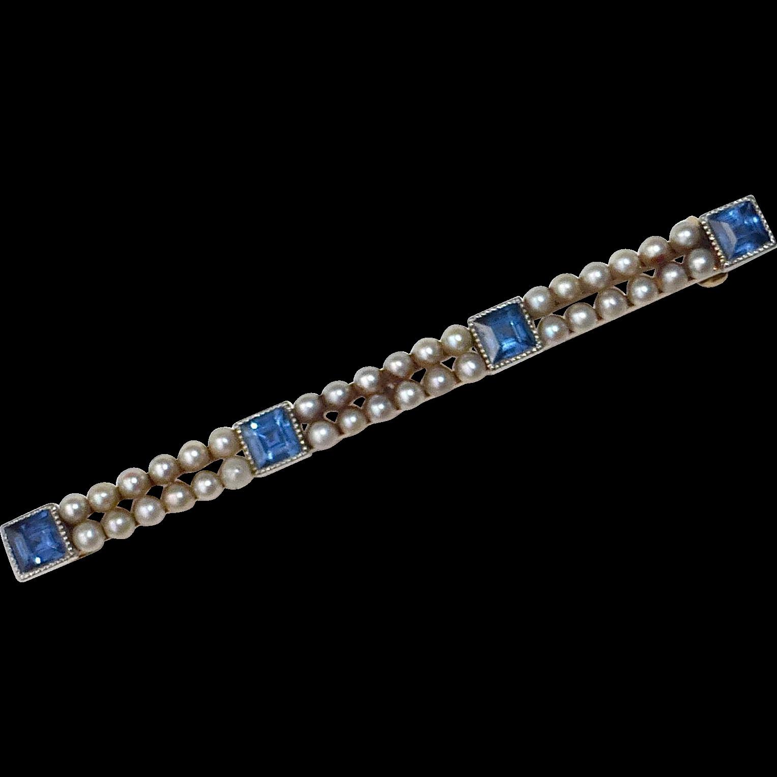 Antique Edwardian 14k Sapphire & Pearl Bar Pin c1910