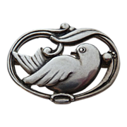 Danish E&M Arts & Crafts 830 Silver Dove Pin