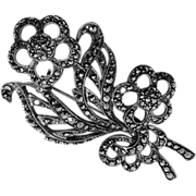 1940s Marcasite & 835 Silver Floral Bouquet Pin