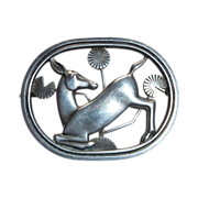 Georg Jensen Denmark Sterling Kneeling Deer Pin #256