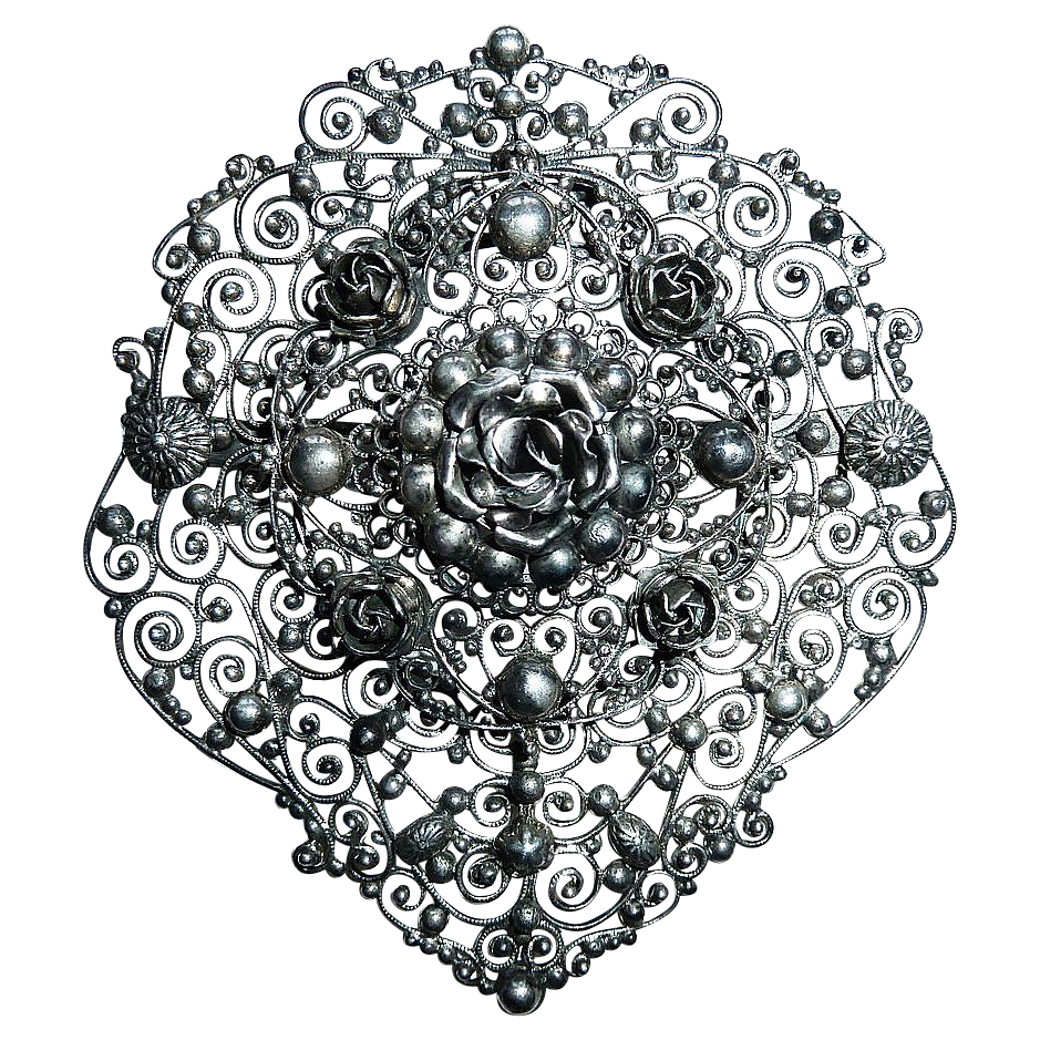 Large 800 Silver Layered Cannetille Filigree Pin w Sculptural Roses