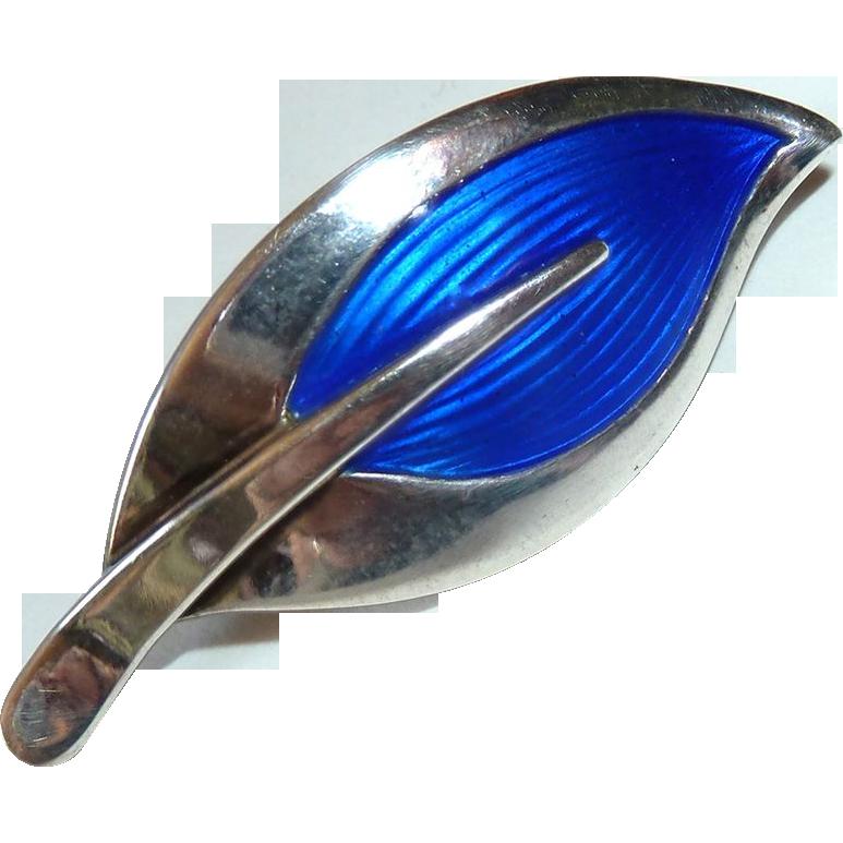 Rare N E From Sterling & Cobalt Blue Enamel Leaf Pin