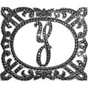 Sparkling Art Deco Sterling & Marcasite Y Initial Pin