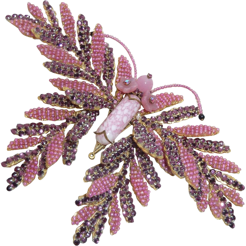 Stanley Hagler Huge Pink Bead Purple Rhinestone Butterfly Pin