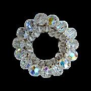Vintage Aurora Borealis Crystal Bead Circle Pin c1950s
