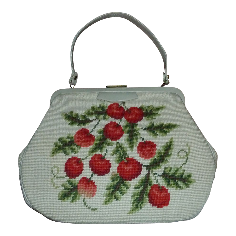 1960s Vintage Cherry Design Needlepoint & Leather Purse