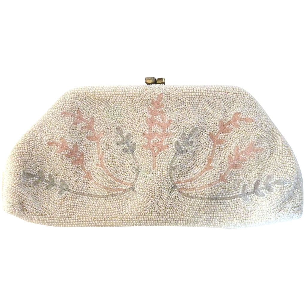 White Beaded Evening Clutch Purse with Pink & Blue Pastel