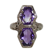 Art Deco 14K White Gold Amethyst Filigree Ring