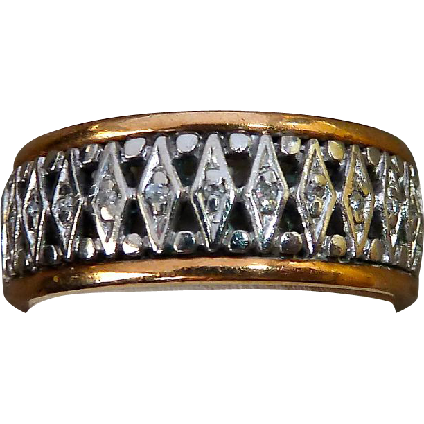 14k White & Rose Gold Pierced Ring w Tiny Diamonds
